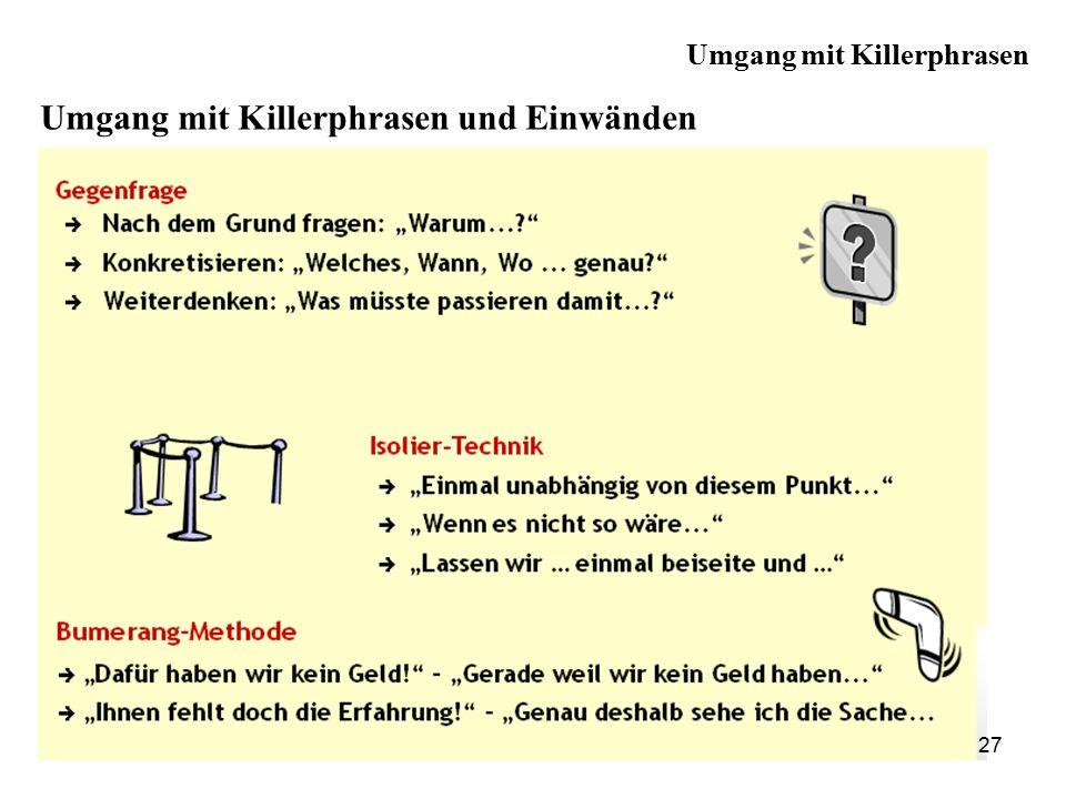 Umgang mit Killerphrasen und Einwänden 27 Umgang mit Killerphrasen
