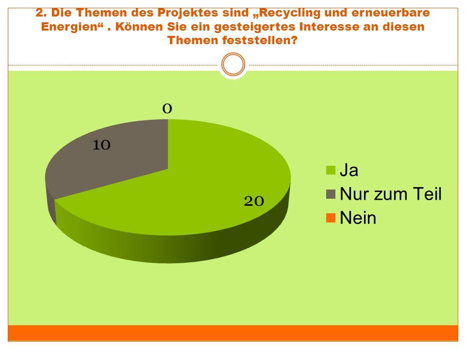 """2. Die Themen des Projektes sind """"Recycling und erneuerbare Energien"""". Können Sie ein gesteigertes Interesse an diesen Themen feststellen?"""
