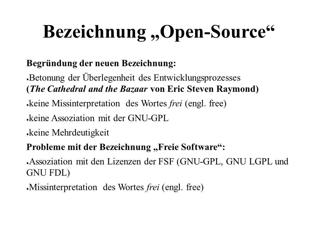 """12 Bezeichnung """"Open-Source Begründung der neuen Bezeichnung: ● Betonung der Überlegenheit des Entwicklungsprozesses (The Cathedral and the Bazaar von Eric Steven Raymond) ● keine Missinterpretation des Wortes frei (engl."""