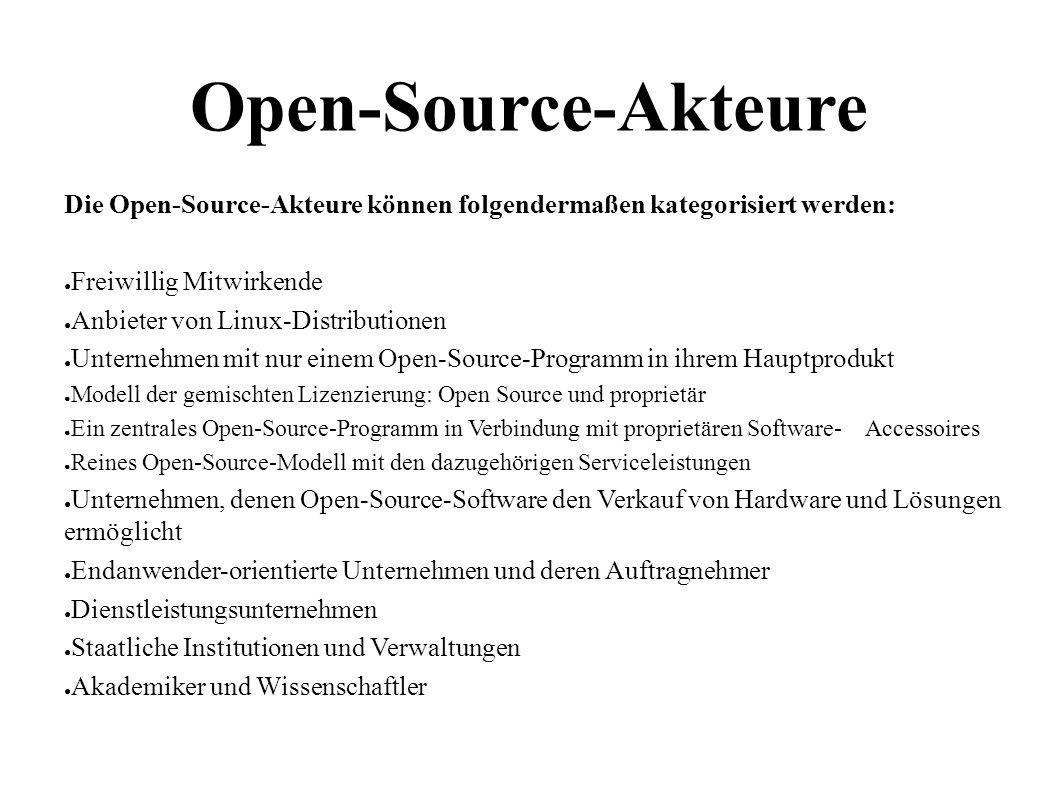 9 Open-Source-Akteure Die Open-Source-Akteure können folgendermaßen kategorisiert werden: ● Freiwillig Mitwirkende ● Anbieter von Linux-Distributionen