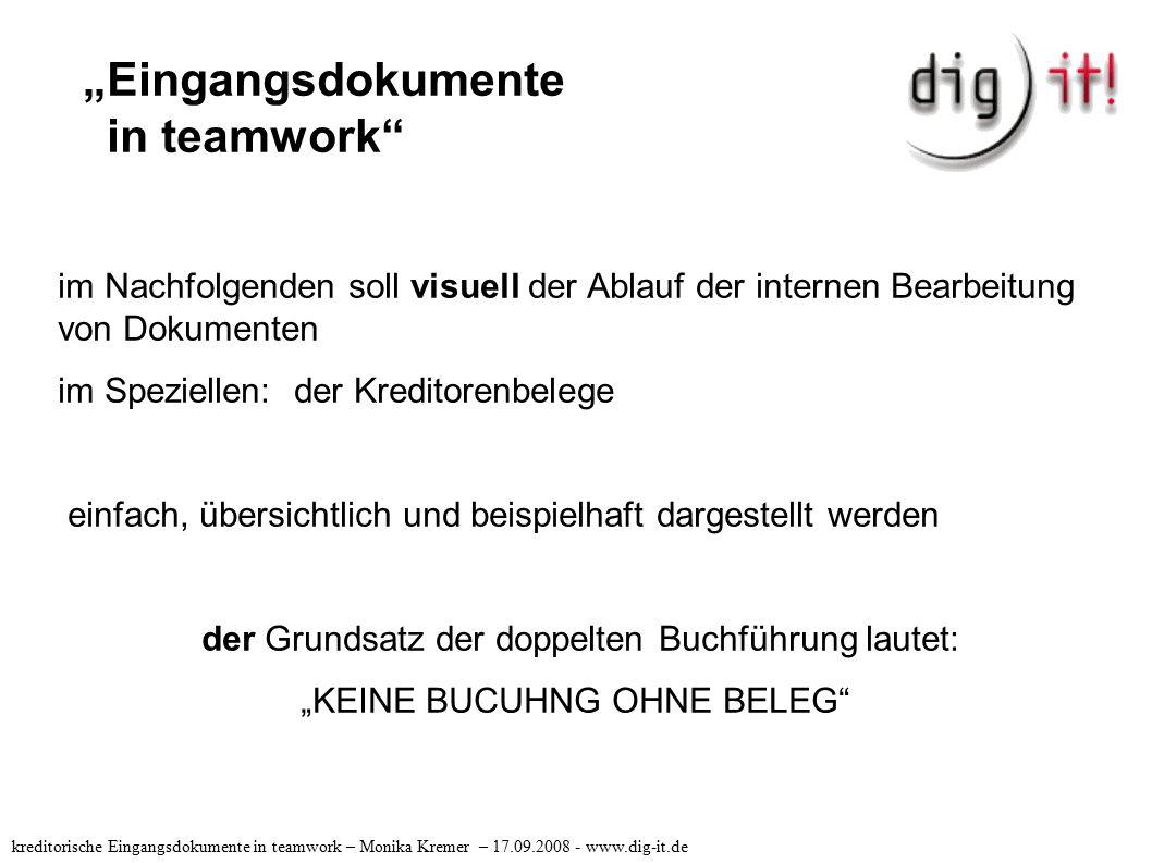 """""""Eingangsdokumente in teamwork"""" im Nachfolgenden soll visuell der Ablauf der internen Bearbeitung von Dokumenten im Speziellen: der Kreditorenbelege e"""