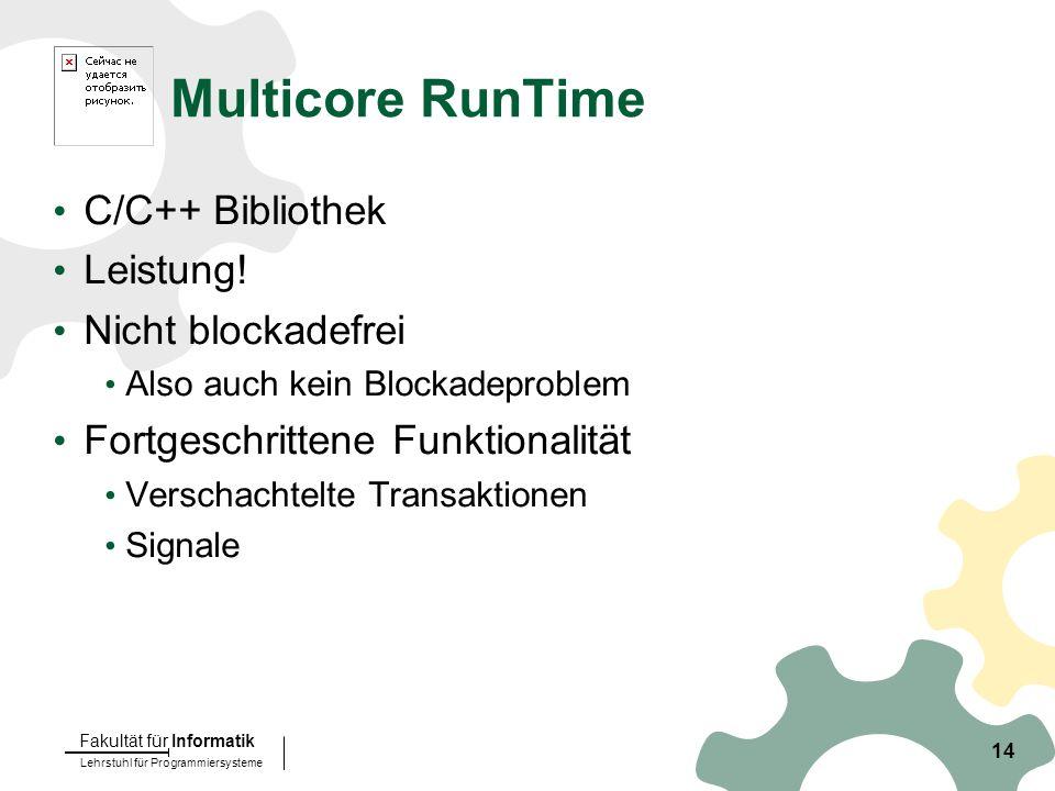 Lehrstuhl für Programmiersysteme Fakultät für Informatik 14 Multicore RunTime C/C++ Bibliothek Leistung.