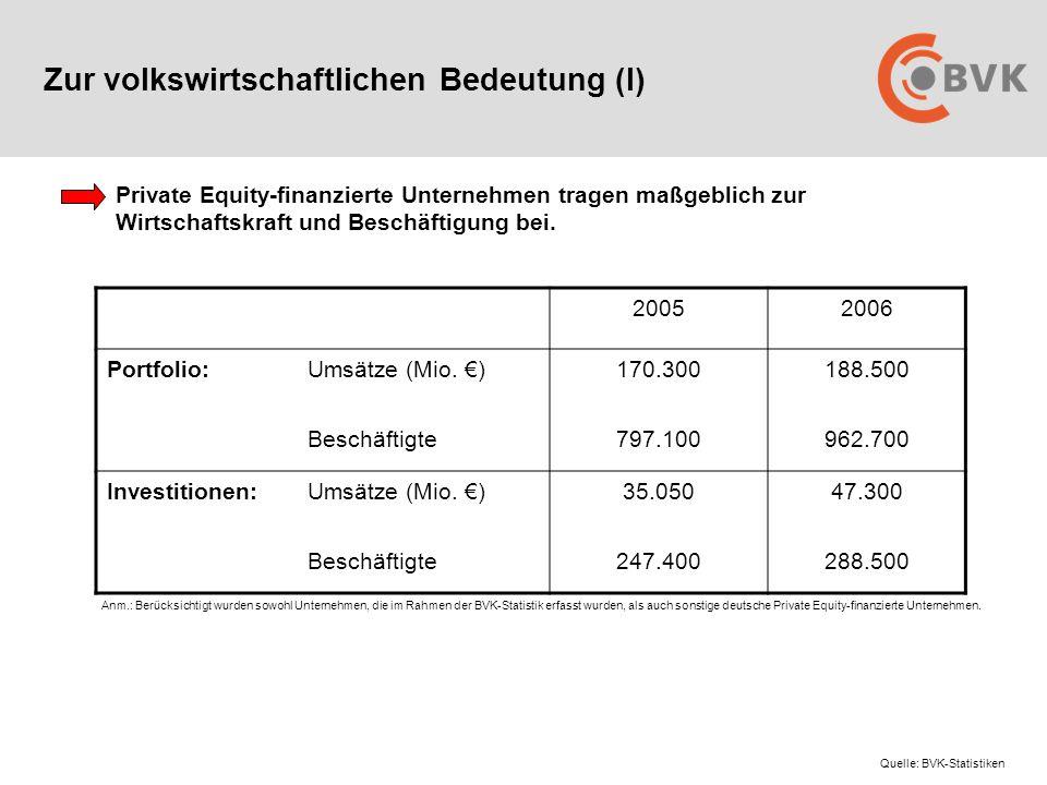 Zur volkswirtschaftlichen Bedeutung (I) 20052006 Portfolio:Umsätze (Mio.