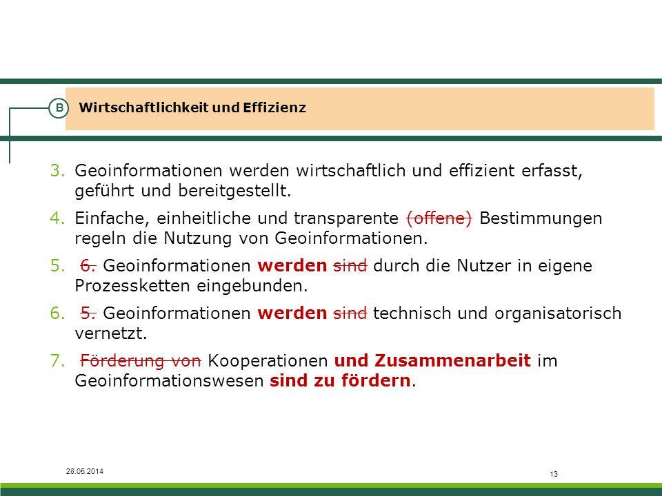 28.05.2014 Wirtschaftlichkeit und Effizienz B 3.Geoinformationen werden wirtschaftlich und effizient erfasst, geführt und bereitgestellt. 4.Einfache,