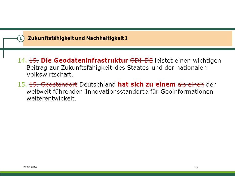 28.05.2014 Zukunftsfähigkeit und Nachhaltigkeit I E 14. 15. Die Geodateninfrastruktur GDI-DE leistet einen wichtigen Beitrag zur Zukunftsfähigkeit des