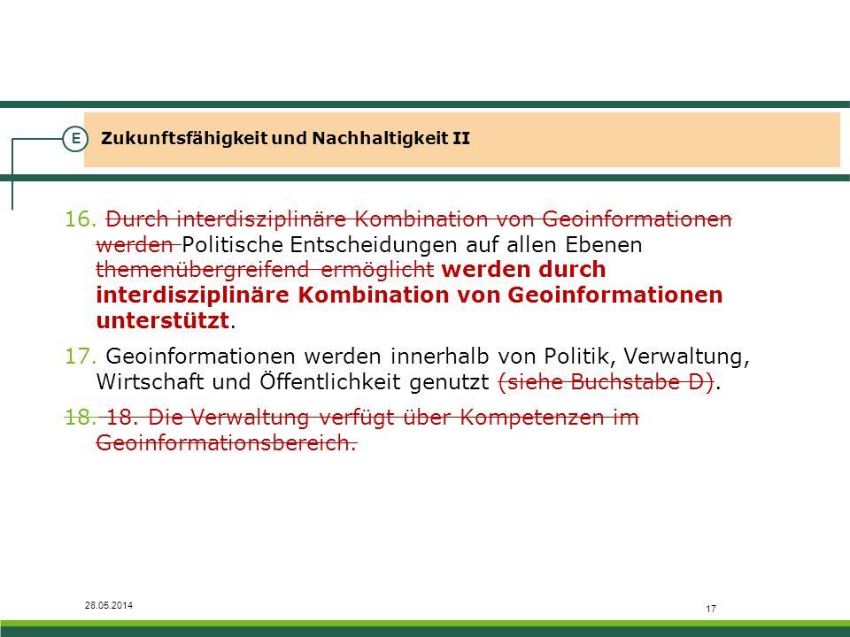 28.05.2014 Zukunftsfähigkeit und Nachhaltigkeit II E 16. Durch interdisziplinäre Kombination von Geoinformationen werden Politische Entscheidungen auf