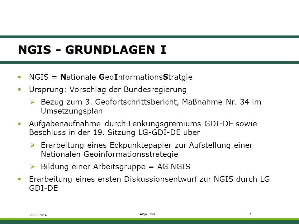  Unterstützung der Umsetzung der Nationalen E-Government Strategie (NEGS)  Definition der NGIS-Zielbereiche sowie Erläuterungen analog zu NEGS  Zielerreichung mithilfe eines Maßnahmenplan 28.05.2014 Anja Litka4 NGIS - GRUNDLAGEN II