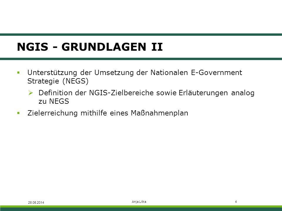  Unterstützung der Umsetzung der Nationalen E-Government Strategie (NEGS)  Definition der NGIS-Zielbereiche sowie Erläuterungen analog zu NEGS  Zie