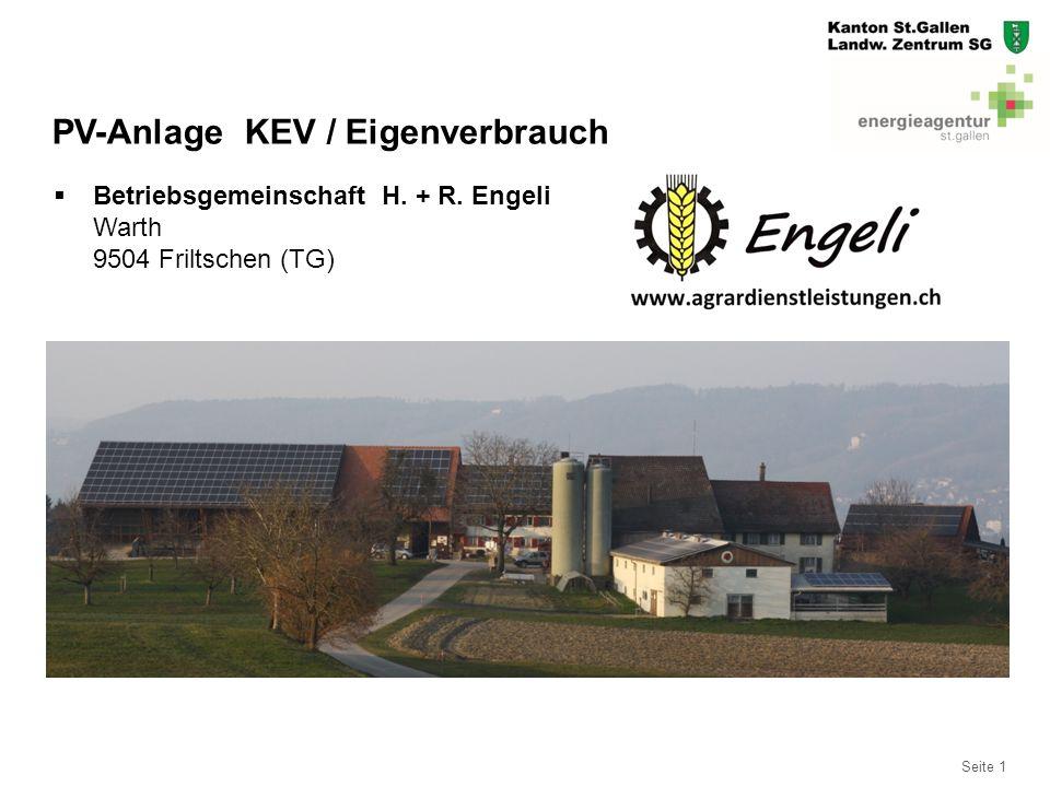 Seite 12 KEV Stromertrag 12.11.2014 – 11.11.2015  Total produzierte Energie:202'819 kWh  KEV Vergütung 24.5 Rp/kWh  TOTAL Fr – Ertrag: 49'690.00 Fr.