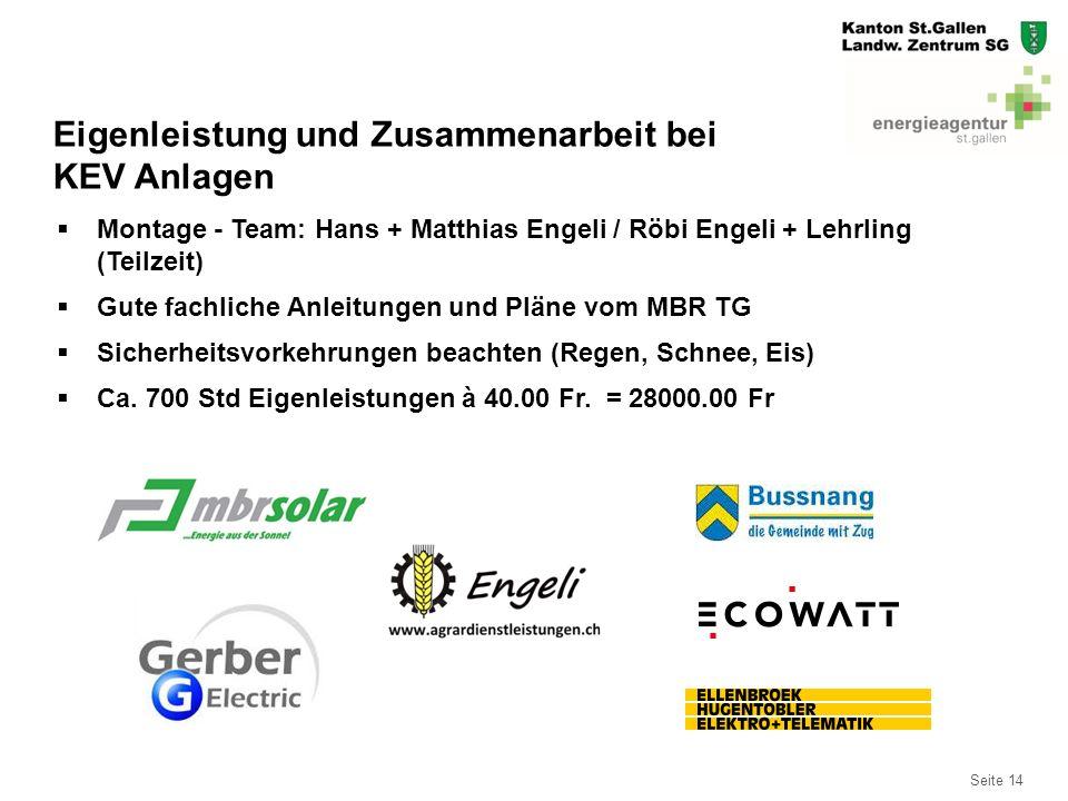 Seite 14  Montage - Team: Hans + Matthias Engeli / Röbi Engeli + Lehrling (Teilzeit)  Gute fachliche Anleitungen und Pläne vom MBR TG  Sicherheitsv