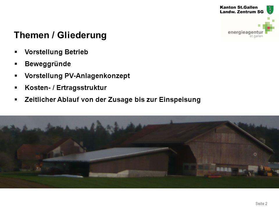 Seite 13 Kosten / Ertrag Eigenstromanlagen  Anlage 1: Baujahr 2010 2: Baujahr 2013  Kosten: 44'250.00 Fr.30'300.00 Fr.