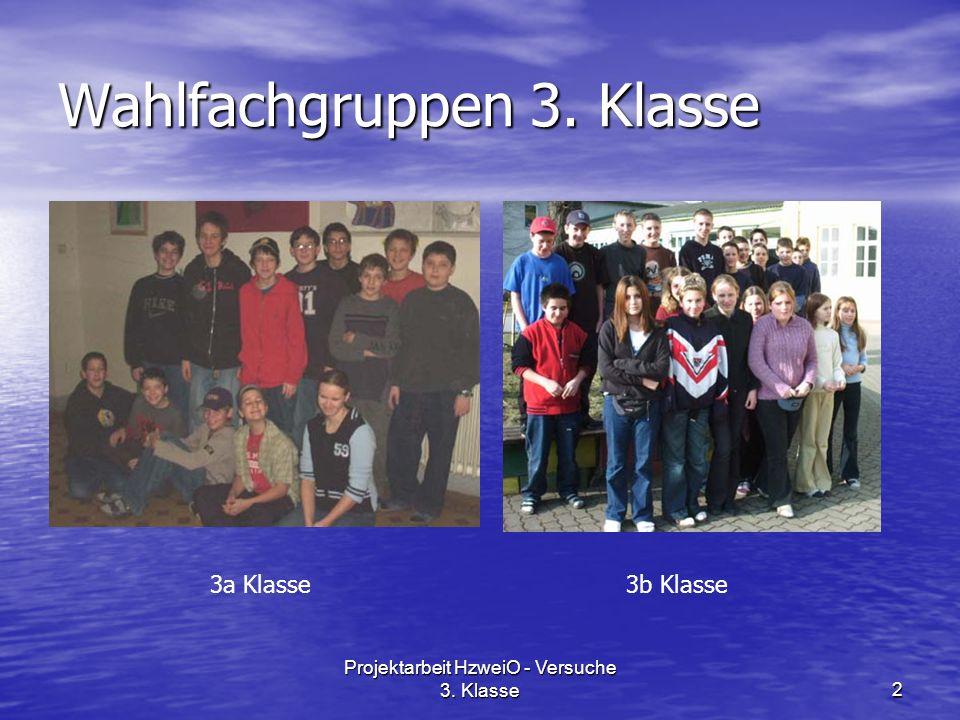 Projektarbeit HzweiO - Versuche 3. Klasse2 Wahlfachgruppen 3. Klasse 3a Klasse3b Klasse