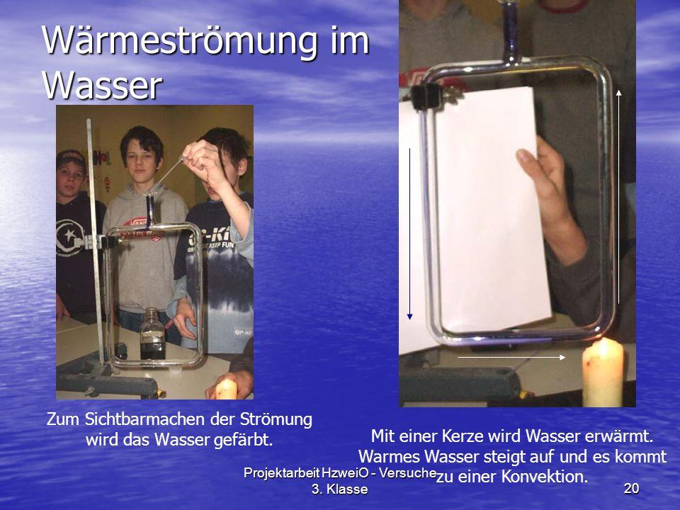 Projektarbeit HzweiO - Versuche 3. Klasse20 Wärmeströmung im Wasser Zum Sichtbarmachen der Strömung wird das Wasser gefärbt. Mit einer Kerze wird Wass