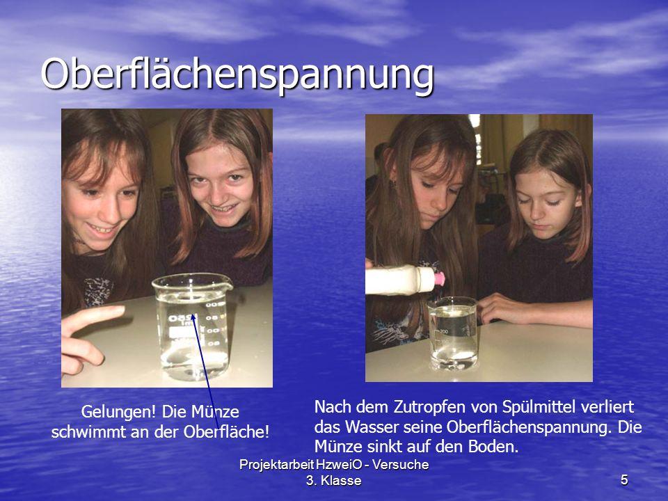 Projektarbeit HzweiO - Versuche 3. Klasse5 Oberflächenspannung Gelungen.