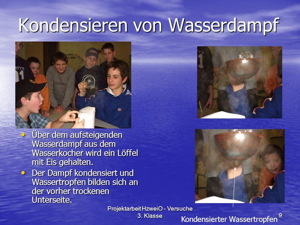 Projektarbeit HzweiO - Versuche 3. Klasse9 Kondensieren von Wasserdampf Über dem aufsteigenden Wasserdampf aus dem Wasserkocher wird ein Löffel mit Ei