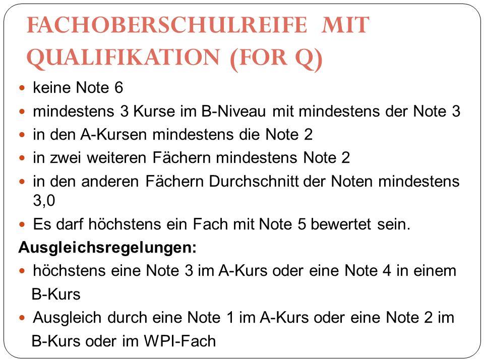 FACHOBERSCHULREIFE MIT QUALIFIKATION (FOR Q) keine Note 6 mindestens 3 Kurse im B-Niveau mit mindestens der Note 3 in den A-Kursen mindestens die Note