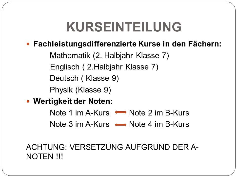 KURSEINTEILUNG Fachleistungsdifferenzierte Kurse in den Fächern: Mathematik (2. Halbjahr Klasse 7) Englisch ( 2.Halbjahr Klasse 7) Deutsch ( Klasse 9)