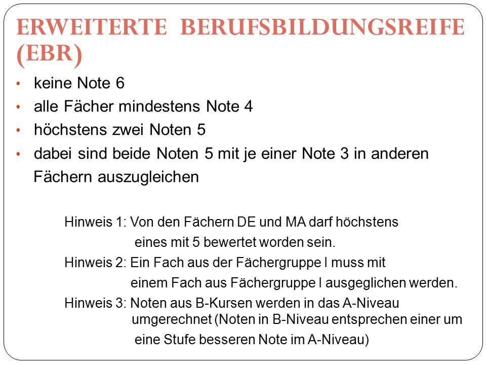 ERWEITERTE BERUFSBILDUNGSREIFE (EBR) keine Note 6 alle Fächer mindestens Note 4 höchstens zwei Noten 5 dabei sind beide Noten 5 mit je einer Note 3 in anderen Fächern auszugleichen Hinweis 1: Von den Fächern DE und MA darf höchstens eines mit 5 bewertet worden sein.