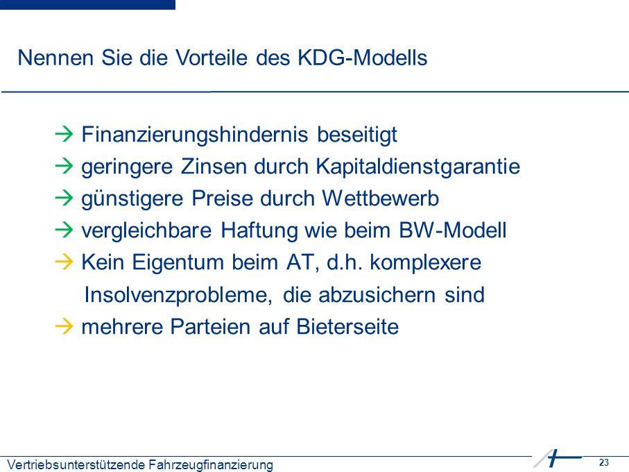23 Kostenmanagement Nennen Sie die Vorteile des KDG-Modells  Finanzierungshindernis beseitigt  geringere Zinsen durch Kapitaldienstgarantie  günstigere Preise durch Wettbewerb  vergleichbare Haftung wie beim BW-Modell  Kein Eigentum beim AT, d.h.