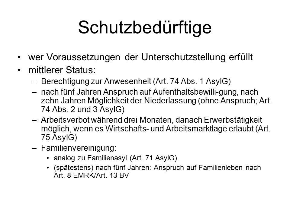 Schutzbedürftige wer Voraussetzungen der Unterschutzstellung erfüllt mittlerer Status: –Berechtigung zur Anwesenheit (Art. 74 Abs. 1 AsylG) –nach fünf