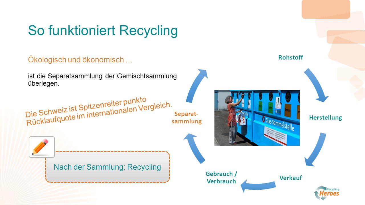 So funktioniert Recycling Ökologisch und ökonomisch … ist die Separatsammlung der Gemischtsammlung überlegen.