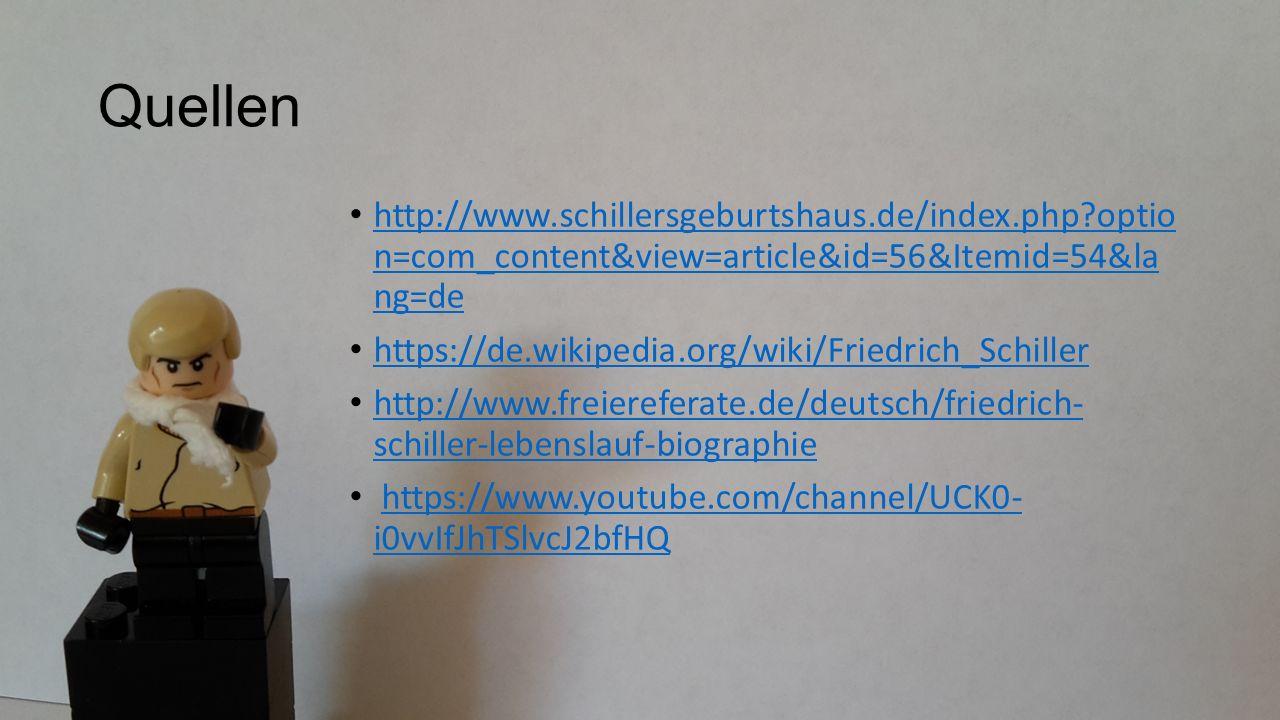 Quellen http://www.schillersgeburtshaus.de/index.php optio n=com_content&view=article&id=56&Itemid=54&la ng=de http://www.schillersgeburtshaus.de/index.php optio n=com_content&view=article&id=56&Itemid=54&la ng=de https://de.wikipedia.org/wiki/Friedrich_Schiller http://www.freiereferate.de/deutsch/friedrich- schiller-lebenslauf-biographie http://www.freiereferate.de/deutsch/friedrich- schiller-lebenslauf-biographie https://www.youtube.com/channel/UCK0- i0vvIfJhTSlvcJ2bfHQhttps://www.youtube.com/channel/UCK0- i0vvIfJhTSlvcJ2bfHQ