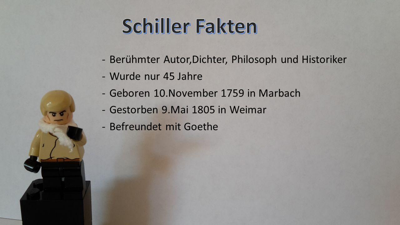 -Berühmter Autor,Dichter, Philosoph und Historiker -Wurde nur 45 Jahre -Geboren 10.November 1759 in Marbach -Gestorben 9.Mai 1805 in Weimar -Befreunde