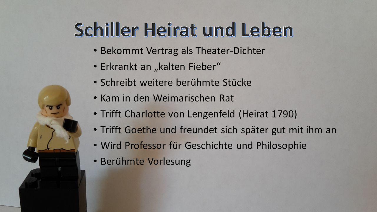 """Bekommt Vertrag als Theater-Dichter Erkrankt an """"kalten Fieber Schreibt weitere berühmte Stücke Kam in den Weimarischen Rat Trifft Charlotte von Lengenfeld (Heirat 1790) Trifft Goethe und freundet sich später gut mit ihm an Wird Professor für Geschichte und Philosophie Berühmte Vorlesung"""