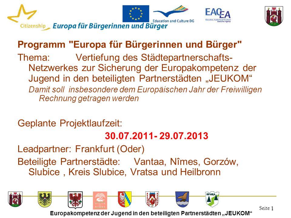 """Seite 1 Europakompetenz der Jugend in den beteiligten Partnerstädten """"JEUKOM"""" 1 Programm"""