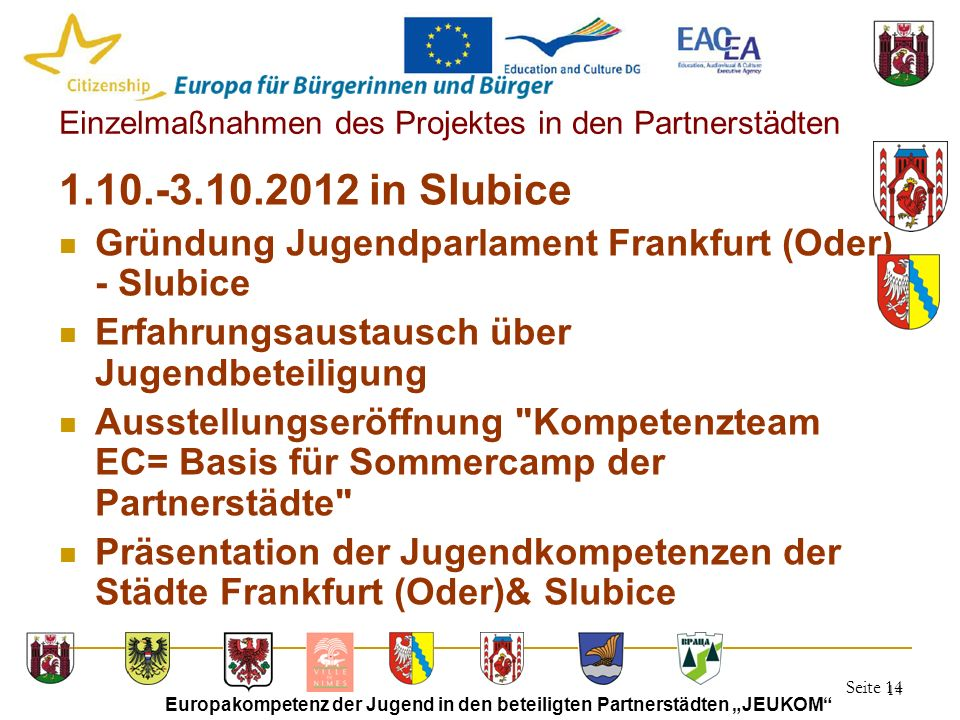 """Seite 14 Europakompetenz der Jugend in den beteiligten Partnerstädten """"JEUKOM"""" 14 Einzelmaßnahmen des Projektes in den Partnerstädten 1.10.-3.10.2012"""