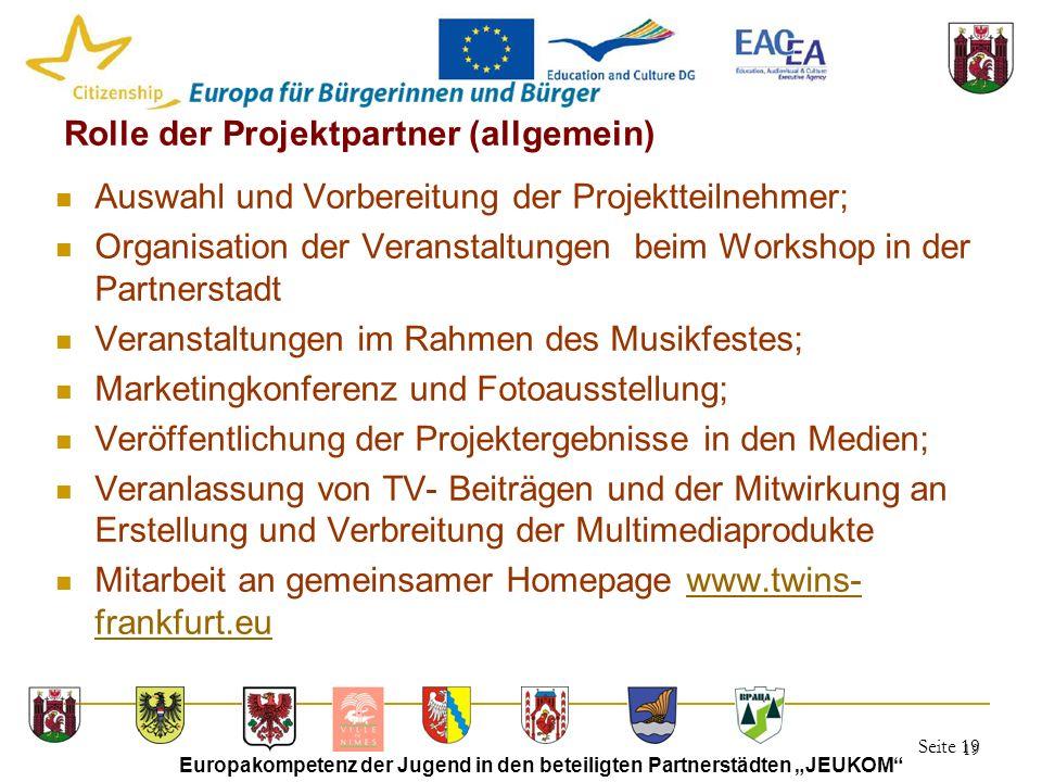 """Seite 19 Europakompetenz der Jugend in den beteiligten Partnerstädten """"JEUKOM"""" 19 Rolle der Projektpartner (allgemein) Auswahl und Vorbereitung der Pr"""
