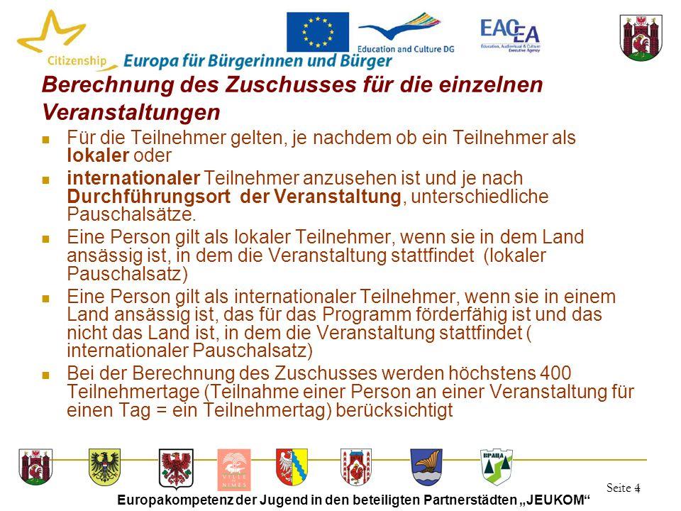 """Seite 4 Europakompetenz der Jugend in den beteiligten Partnerstädten """"JEUKOM"""" 4 Berechnung des Zuschusses für die einzelnen Veranstaltungen Für die Te"""