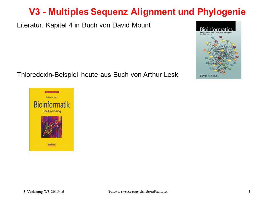 3. Vorlesung WS 2015/16 Softwarewerkzeuge der Bioinformatik1 V3 - Multiples Sequenz Alignment und Phylogenie Literatur: Kapitel 4 in Buch von David Mo