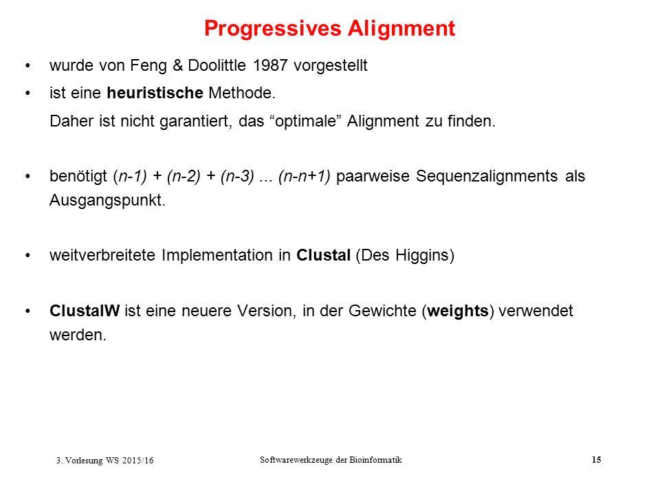 Softwarewerkzeuge der Bioinformatik15 wurde von Feng & Doolittle 1987 vorgestellt ist eine heuristische Methode.