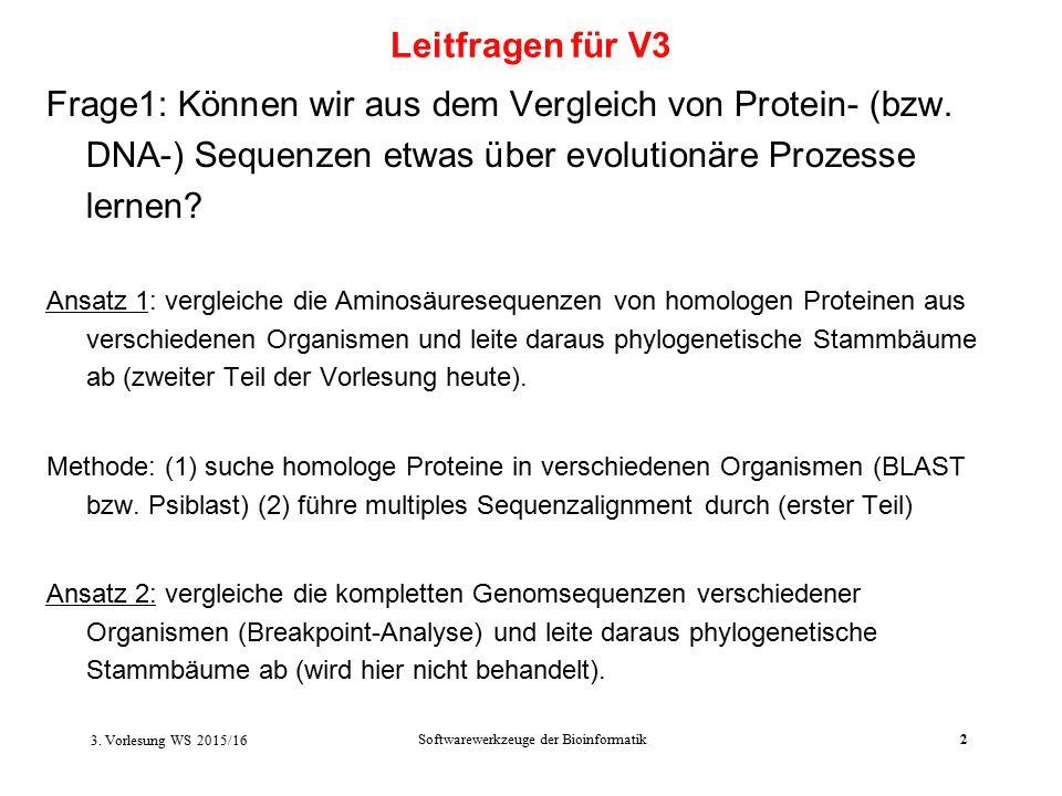 Softwarewerkzeuge der Bioinformatik2 Frage1: Können wir aus dem Vergleich von Protein- (bzw.