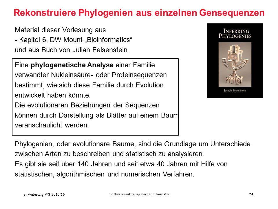 """Softwarewerkzeuge der Bioinformatik24 Rekonstruiere Phylogenien aus einzelnen Gensequenzen Material dieser Vorlesung aus - Kapitel 6, DW Mount """"Bioinformatics und aus Buch von Julian Felsenstein."""