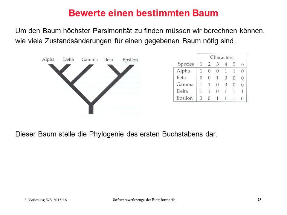 Softwarewerkzeuge der Bioinformatik28 Bewerte einen bestimmten Baum Um den Baum höchster Parsimonität zu finden müssen wir berechnen können, wie viele Zustandsänderungen für einen gegebenen Baum nötig sind.