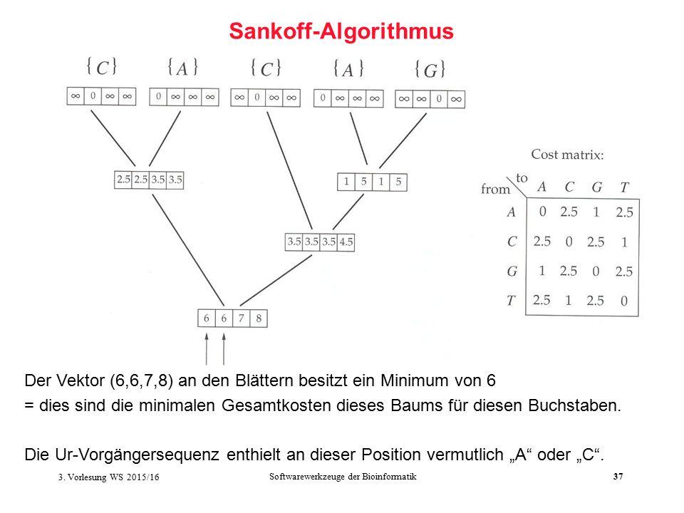 Softwarewerkzeuge der Bioinformatik37 Sankoff-Algorithmus Der Vektor (6,6,7,8) an den Blättern besitzt ein Minimum von 6 = dies sind die minimalen Gesamtkosten dieses Baums für diesen Buchstaben.