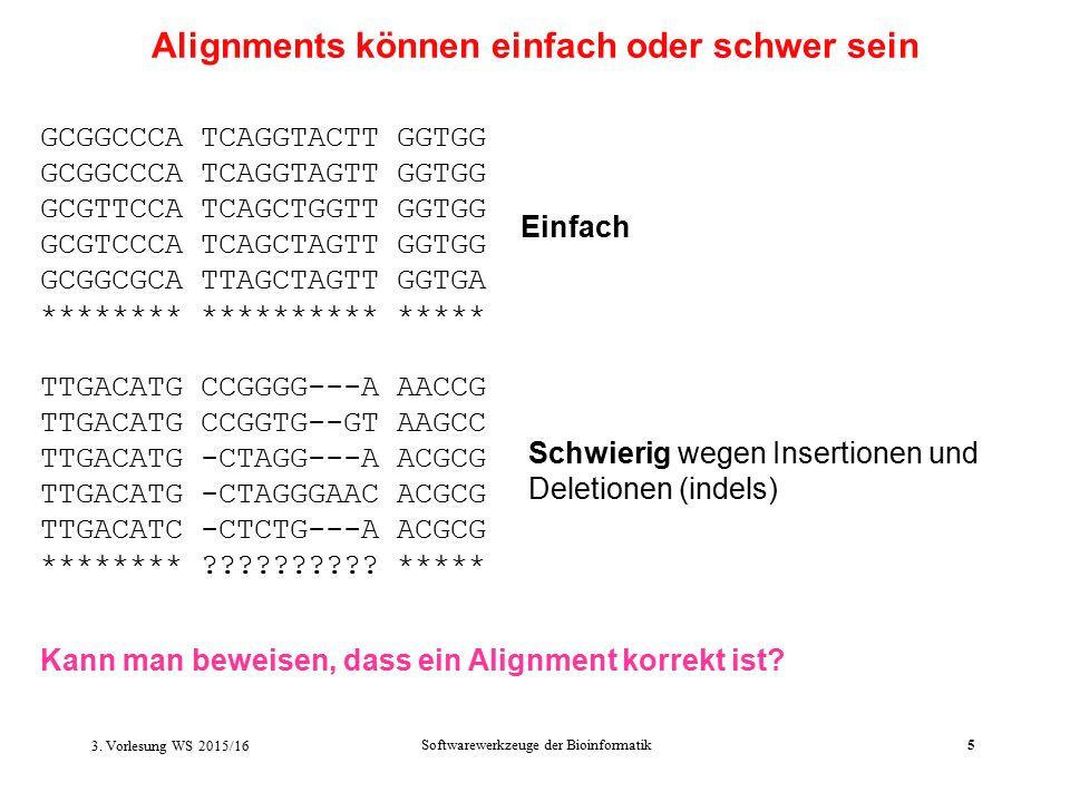Softwarewerkzeuge der Bioinformatik5 Einfach Schwierig wegen Insertionen und Deletionen (indels) Alignments können einfach oder schwer sein GCGGCCCA TCAGGTACTT GGTGG GCGGCCCA TCAGGTAGTT GGTGG GCGTTCCA TCAGCTGGTT GGTGG GCGTCCCA TCAGCTAGTT GGTGG GCGGCGCA TTAGCTAGTT GGTGA ******** ********** ***** TTGACATG CCGGGG---A AACCG TTGACATG CCGGTG--GT AAGCC TTGACATG -CTAGG---A ACGCG TTGACATG -CTAGGGAAC ACGCG TTGACATC -CTCTG---A ACGCG ******** .