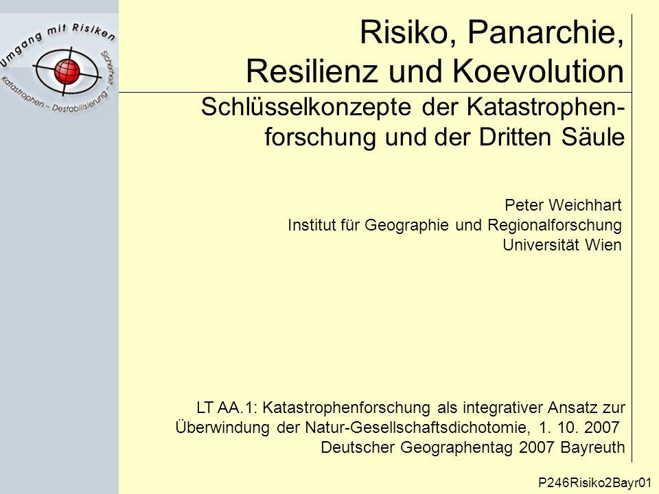"""Zielsetzung P246Risiko2Bayr02 Formulierung programmatischer Vorschläge zur sprach- pragmatischen Analyse, Präzisierung und inhaltlichen Differenzierung von Schlüsselbegriffen und Konzepten der """"Schnittstellenforschung (Dritte Säule) in der Geographie."""