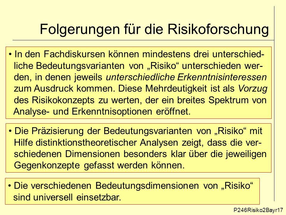 """Folgerungen für die Risikoforschung P246Risiko2Bayr17 In den Fachdiskursen können mindestens drei unterschied- liche Bedeutungsvarianten von """"Risiko unterschieden wer- den, in denen jeweils unterschiedliche Erkenntnisinteressen zum Ausdruck kommen."""