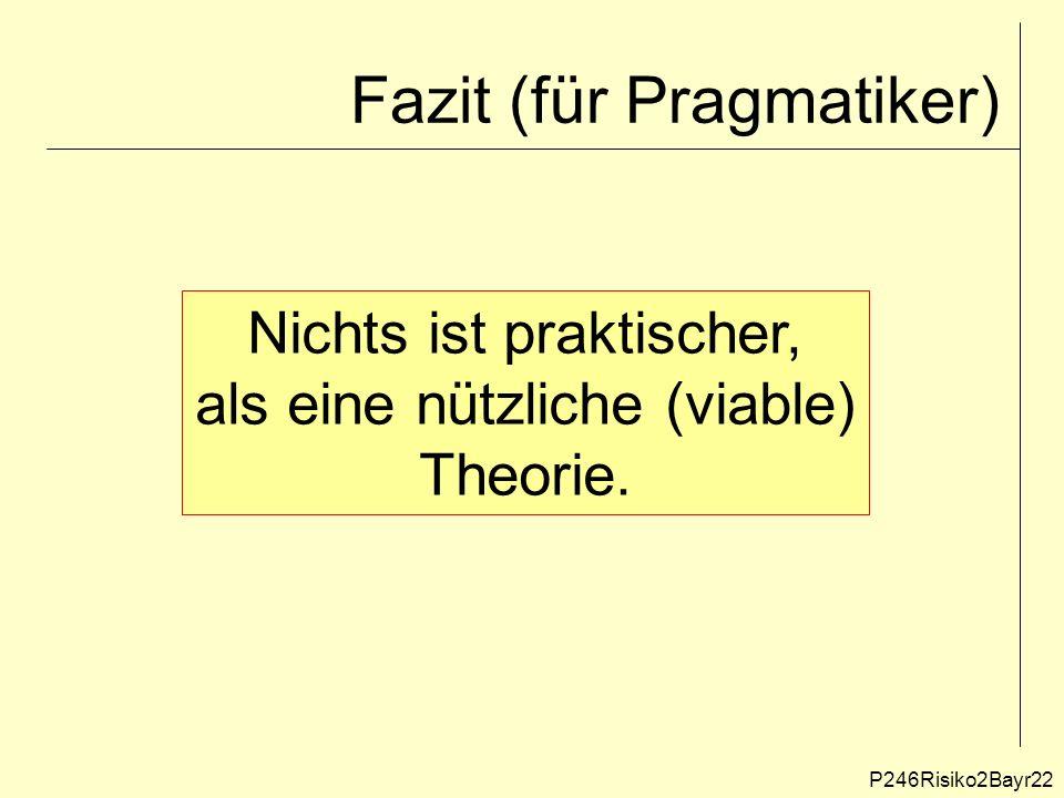 Fazit (für Pragmatiker) P246Risiko2Bayr22 Nichts ist praktischer, als eine nützliche (viable) Theorie.