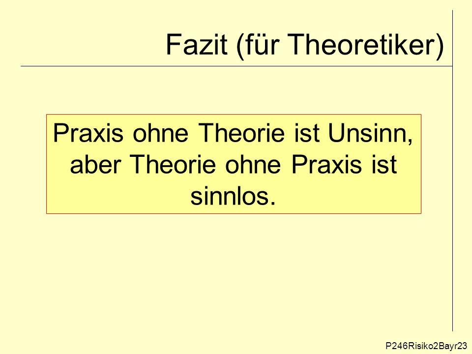 Fazit (für Theoretiker) Praxis ohne Theorie ist Unsinn, aber Theorie ohne Praxis ist sinnlos.