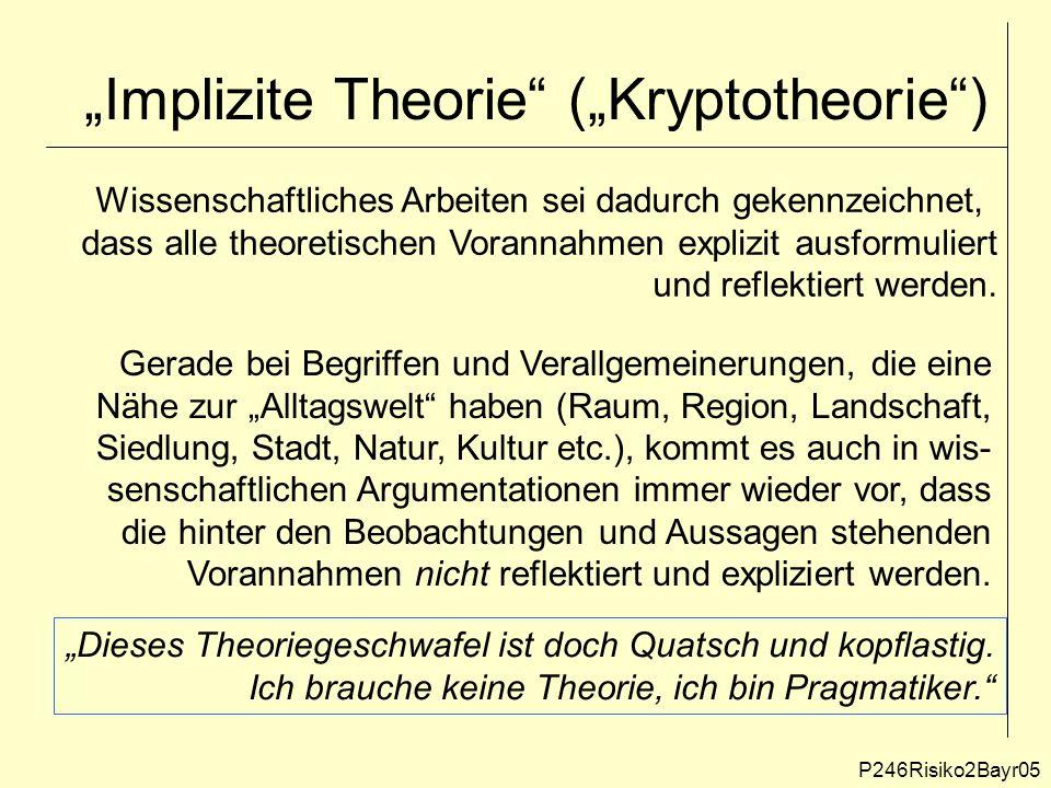 """""""Implizite Theorie (""""Kryptotheorie ) P246Risiko2Bayr05 Wissenschaftliches Arbeiten sei dadurch gekennzeichnet, dass alle theoretischen Vorannahmen explizit ausformuliert und reflektiert werden."""