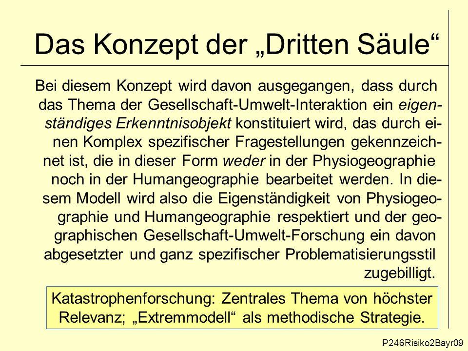 """Das Konzept der """"Dritten Säule P246Risiko2Bayr09 Katastrophenforschung: Zentrales Thema von höchster Relevanz; """"Extremmodell als methodische Strategie."""