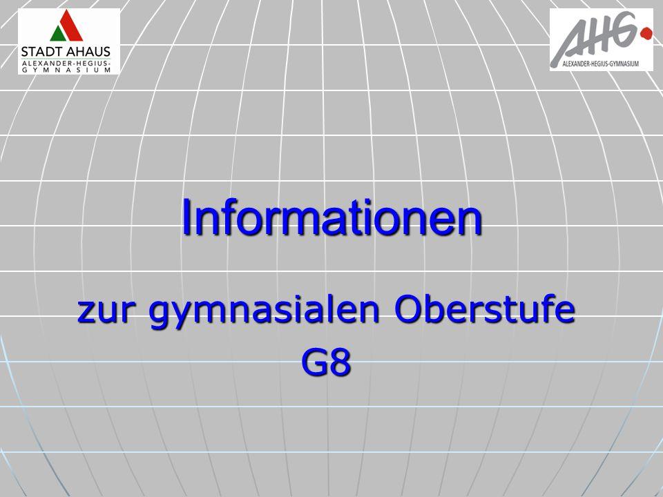 Informationen zur gymnasialen Oberstufe G8