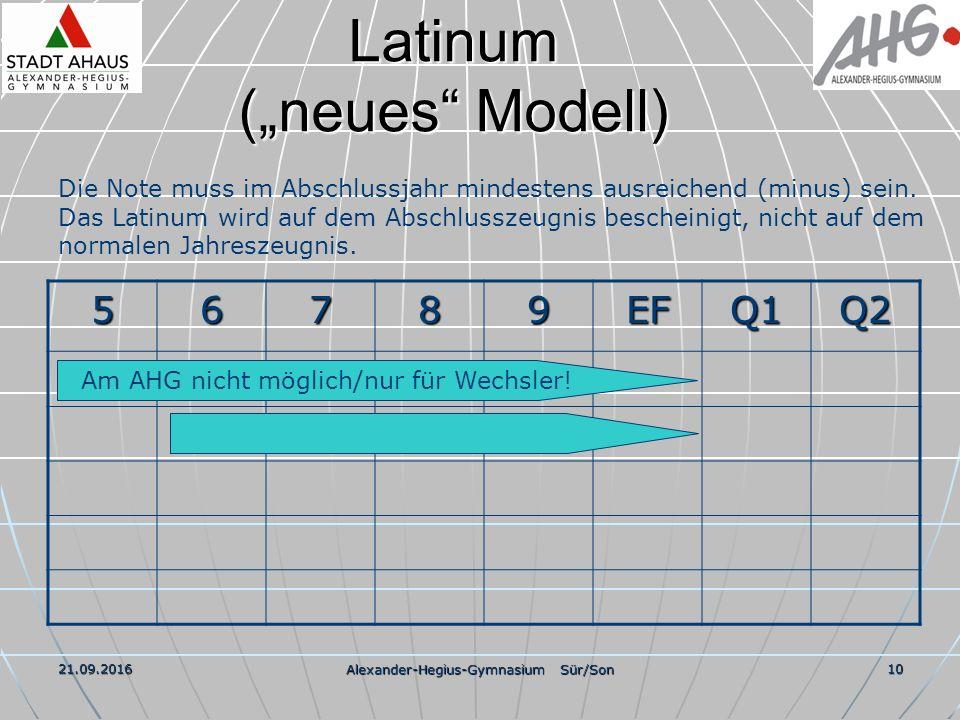 """21.09.2016 Alexander-Hegius-Gymnasium Sür/Son 10 Latinum (""""neues Modell) 56789EFQ1Q2 Die Note muss im Abschlussjahr mindestens ausreichend (minus) sein."""