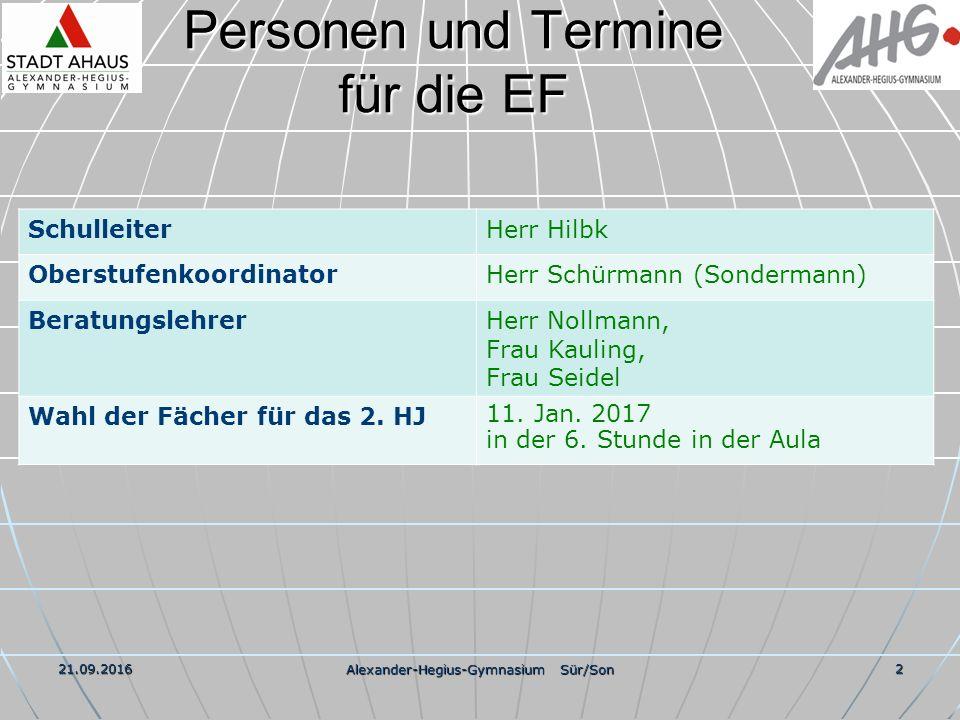 21.09.2016 Alexander-Hegius-Gymnasium Sür/Son 13 Geplantes Fächerangebot 1 1.