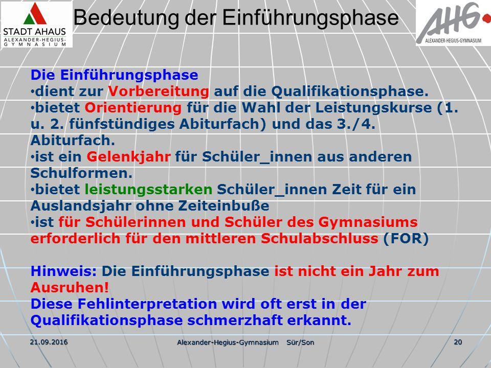 Bedeutung der Einführungsphase 21.09.2016 Alexander-Hegius-Gymnasium Sür/Son 20 Die Einführungsphase dient zur Vorbereitung auf die Qualifikationsphase.