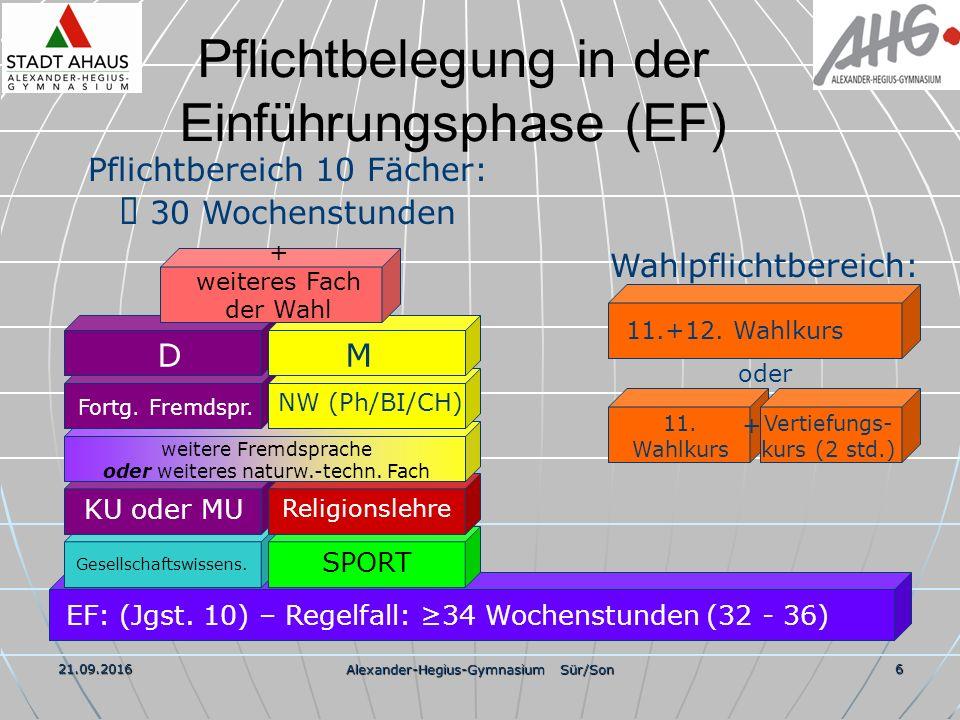 21.09.2016 Alexander-Hegius-Gymnasium Sür/Son 7 Wahlbeispiel EF 36 3 2 3 3 3 3 3 3 3 4 3 3 Std.Chemie11.